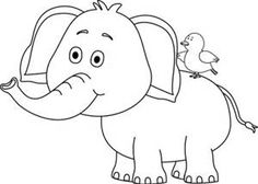 Elephant clip art black and white. Cute baby looking behind