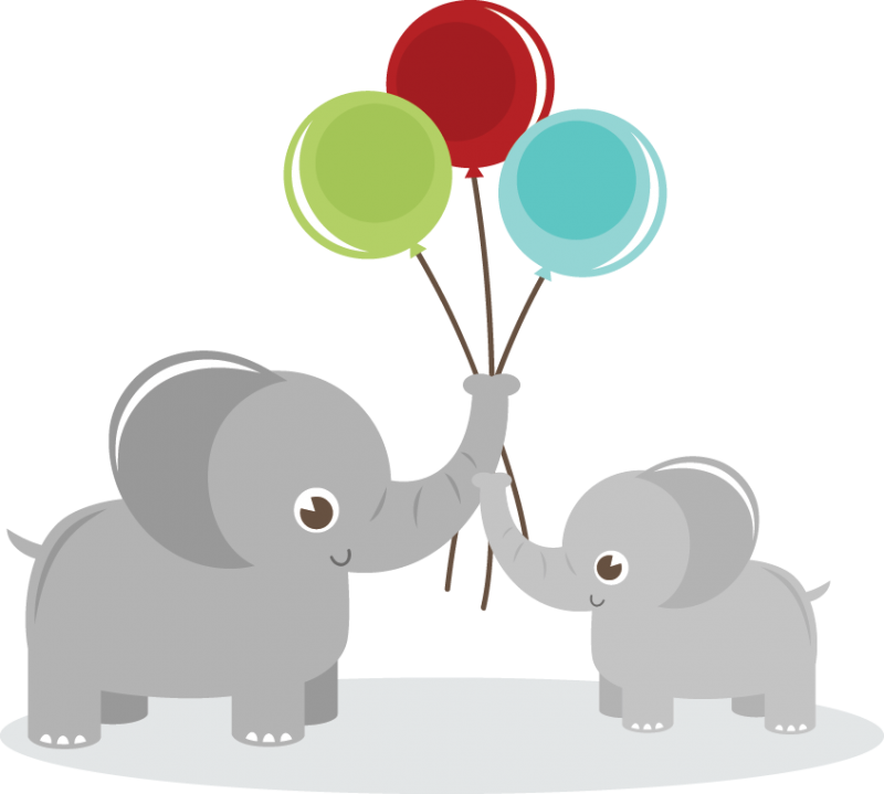 Elephants svg adorable. Holding balloons elephant clipart