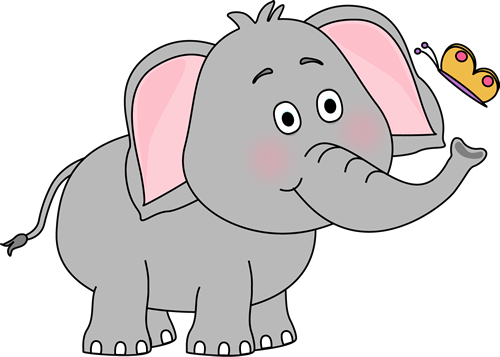 Elephant clip art cute. Images and butterfly