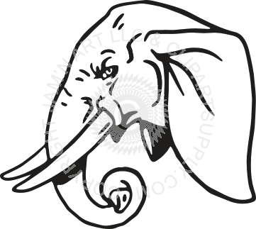 With trunk curled . Elephant clip art elephant head clip art black and white download