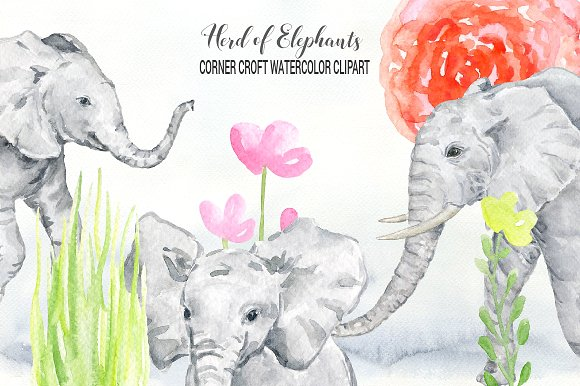 Watercolor clipart illustrations creative. Elephant clip art elephent banner library download