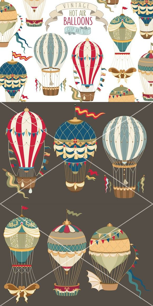 Elephant clip art hot air balloon. Vintage collection illustrations pinterest