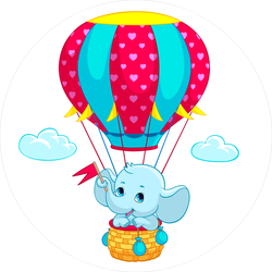Baby on sticker . Elephant clip art hot air balloon png library