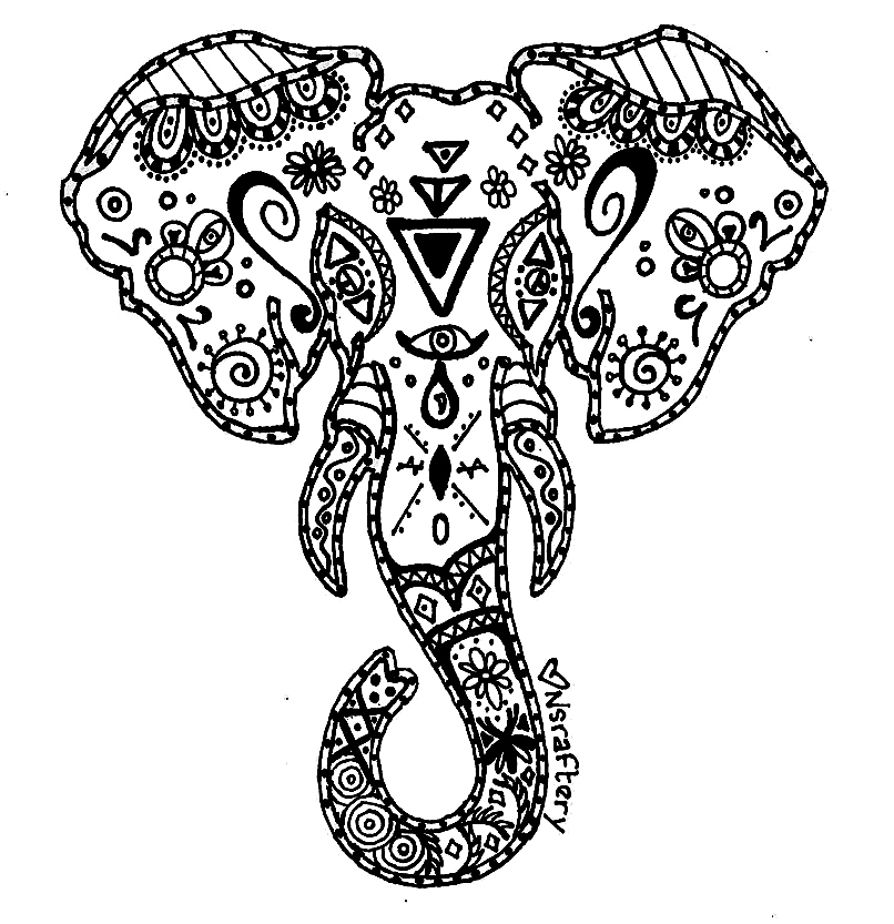 Elephant clip art mandala. Abstract coloring pages getcoloringpages