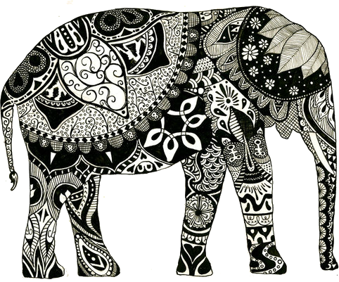 Tangle drawing elephant. American hippie psychedelic