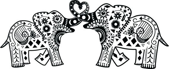 Elephant clip art mandala. Free printable coloring pages