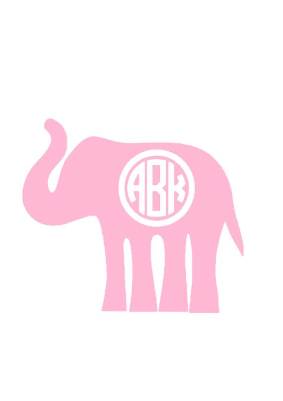 Elephant clip art monogram. Monogrammed decal personalized in
