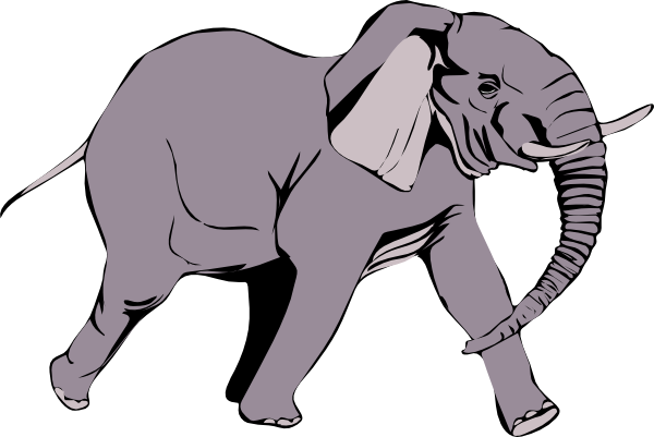 Running at clker com. Elephant clip art realistic image black and white stock