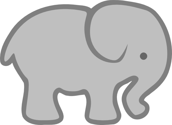 Elephant clip art simple. Gray outline at vector