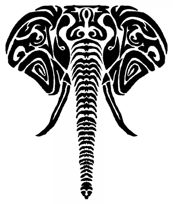 Elephant clip art tribal. Black and white drawing