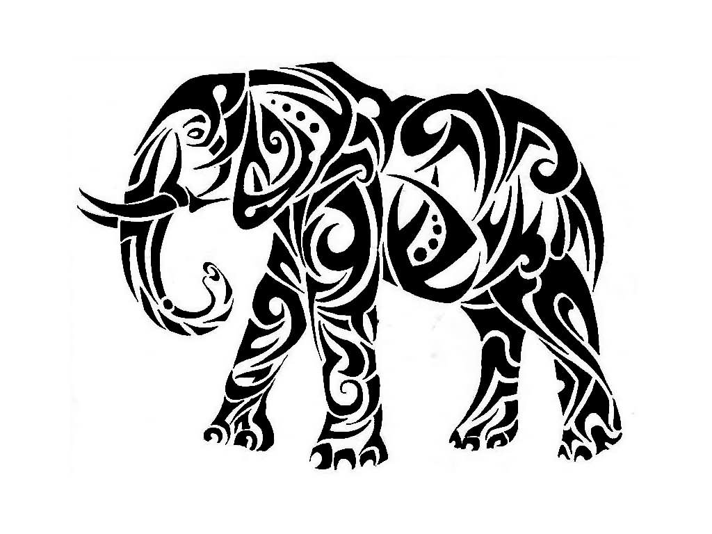 Elephant clip art tribal. Drawing trunk up at