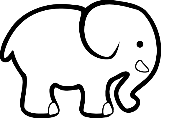 Elephant clipart black and white. Clip art at clker