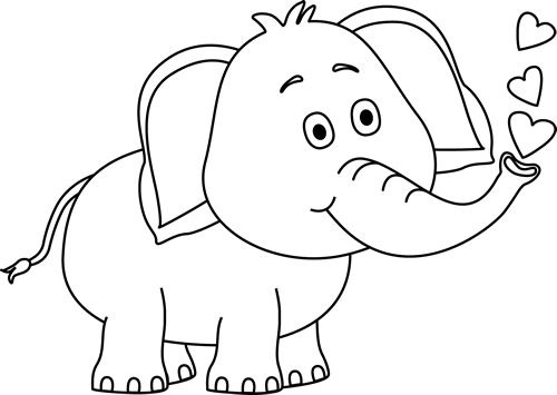 Elephant clipart black and white. Cute letters format