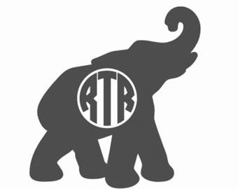 Elephant clipart monogram. With trunk up silhouette