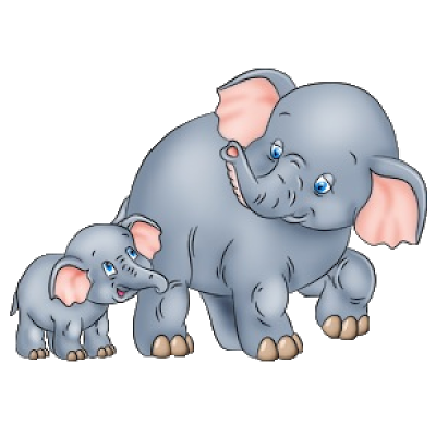 Cute Baby and Momma Elephant Clip Art