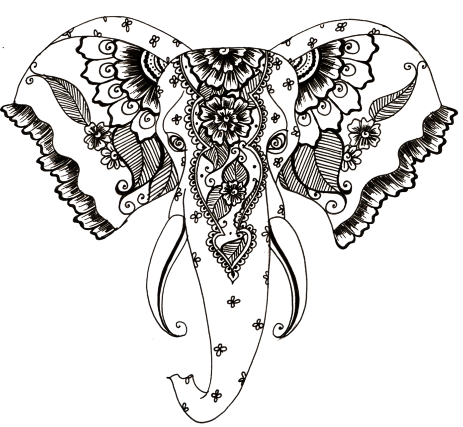 Elephant drawing png. Henna style by teenu