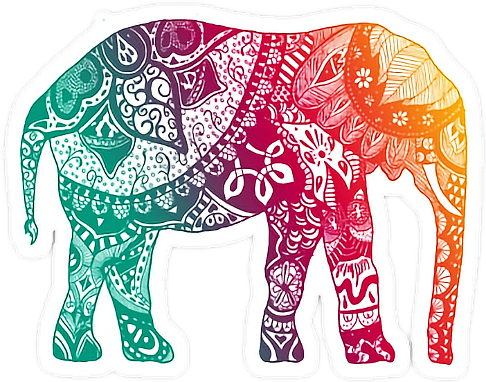 Elephant mandala png. Color rainbow sticker by