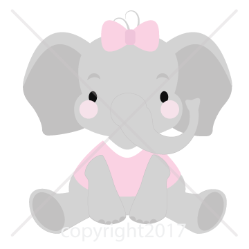 Elephants svg grey baby. Girl elephant