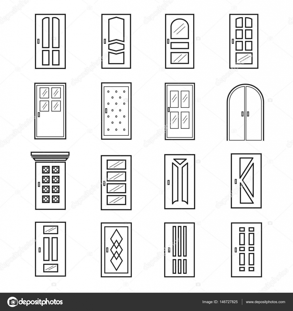 Elevator clipart door outline. Linear icons thin line