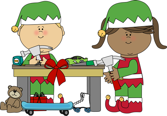 Elf clipart adorable. Elves making toys clip