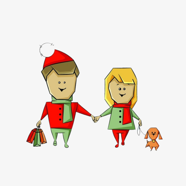 Elf clipart couple. Hand painted cartoon material