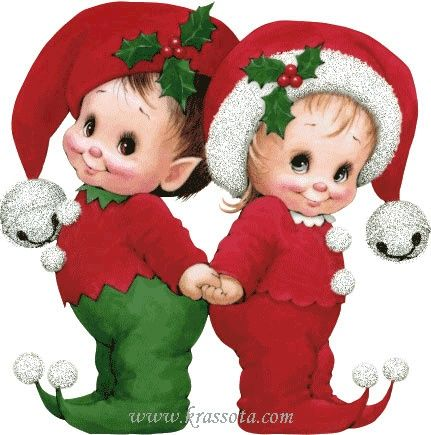 Elf clipart couple. Cute little christmas elves