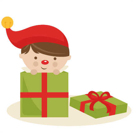 Elf clipart peeking. Boy in present svg