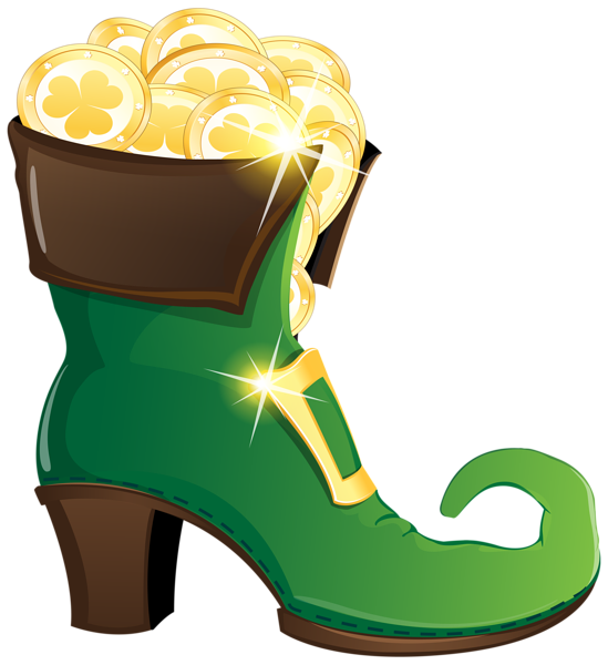 Elf shoes png. Leprechaun shoe with gold
