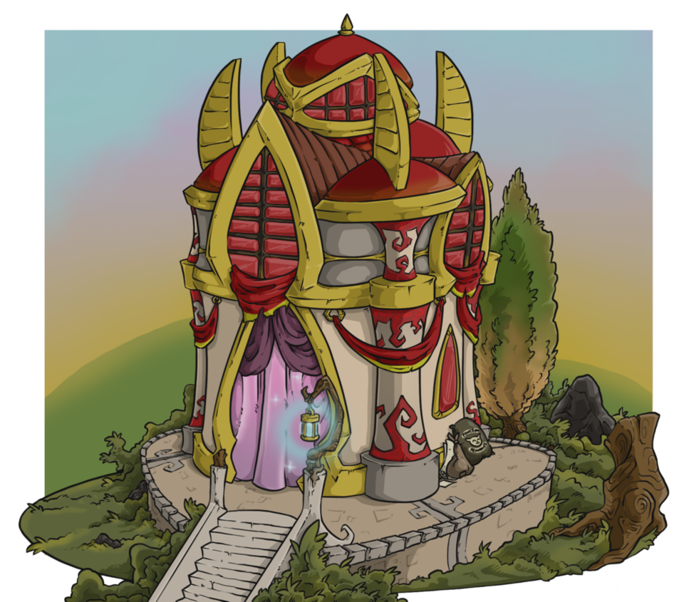 Elf transparent building. Commission blood residence by