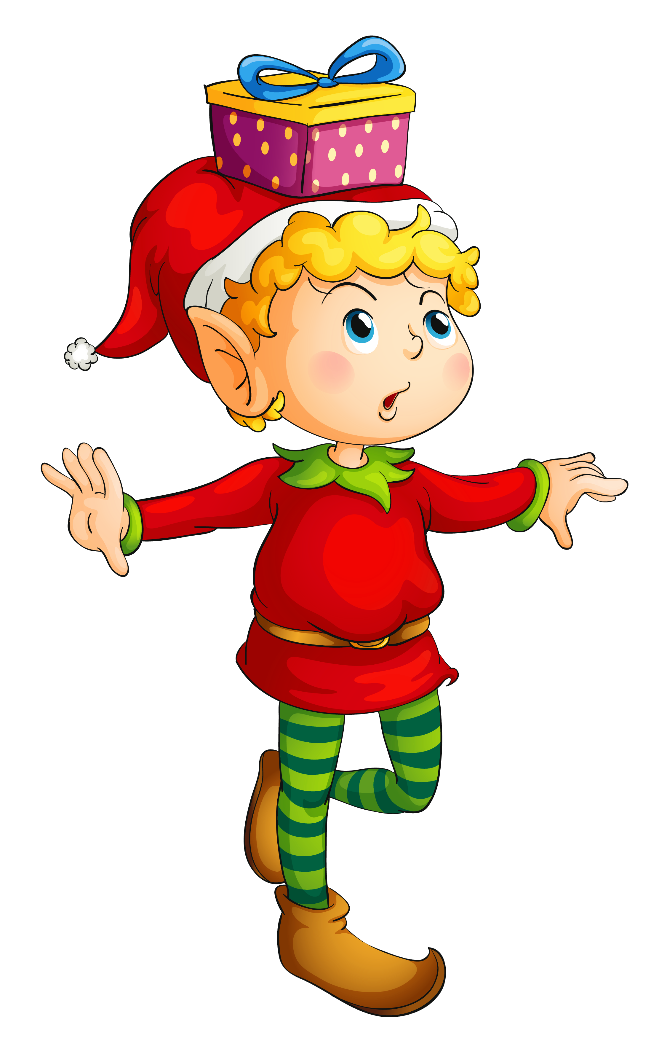 Elf transparent gift. Christmas with png picture