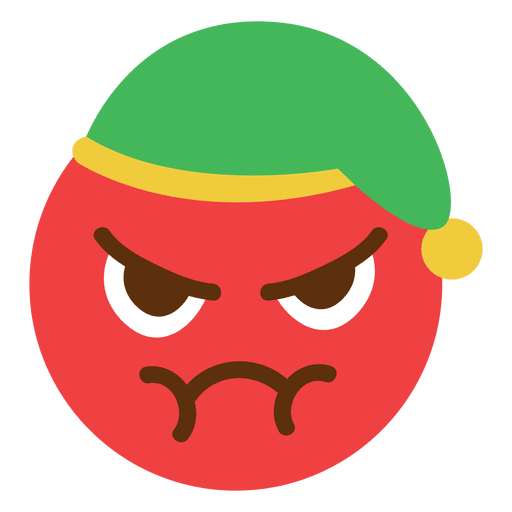 Elf transparent svg. Angry red hat face