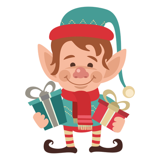 Elf transparent svg. Holding gifts png vector