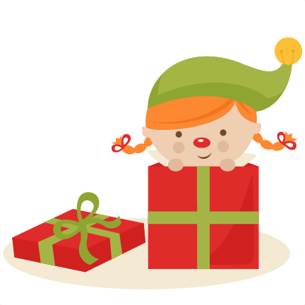 Elf transparent svg. Girl in present cutting