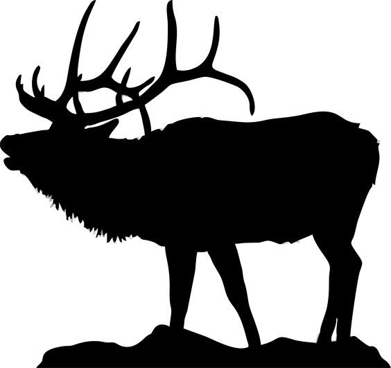 Elk clipart. Silhouette of for flat