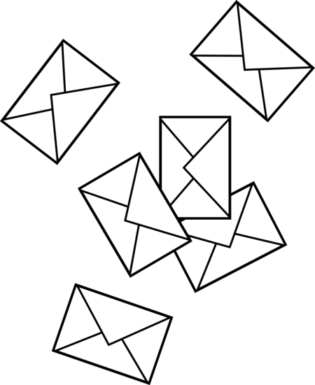 Mail drawing office. Scattered envelopes free clip