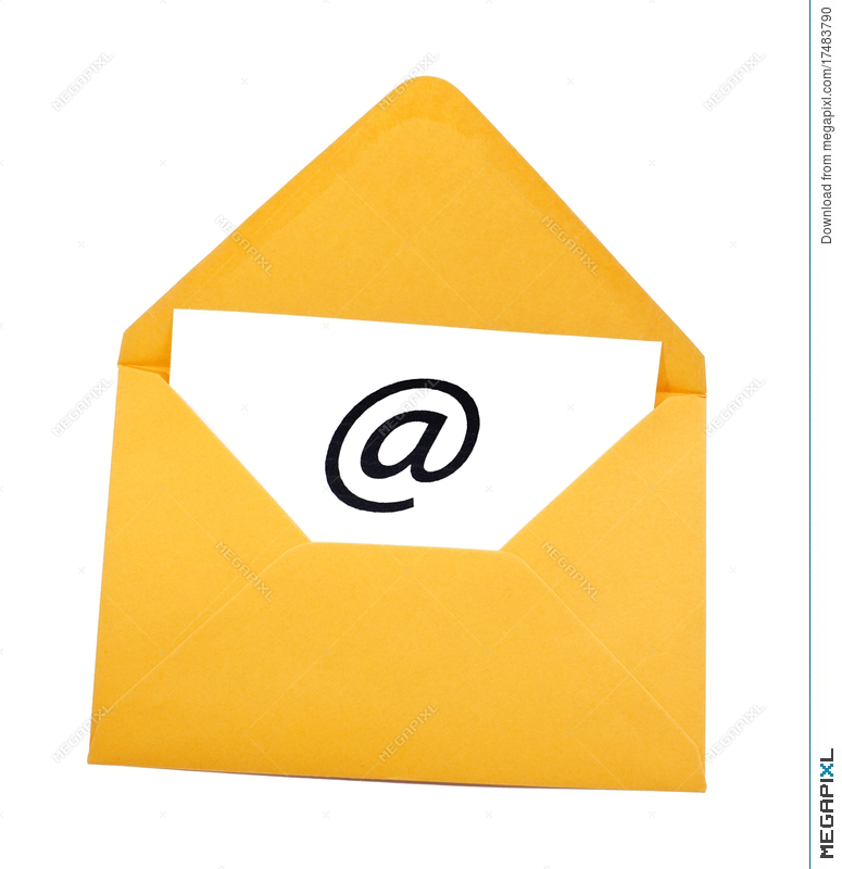 Email clipart yellow envelope. Symbol in stock photo