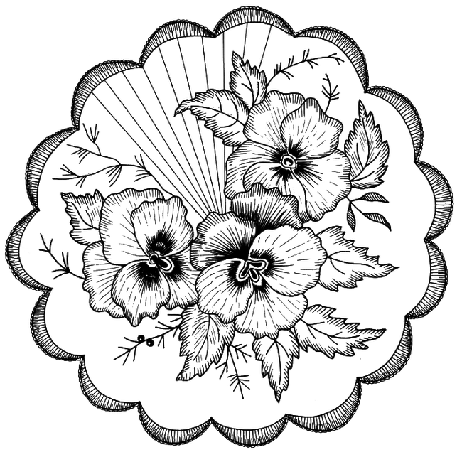 Embroidery drawing. Motif coloring book pattern