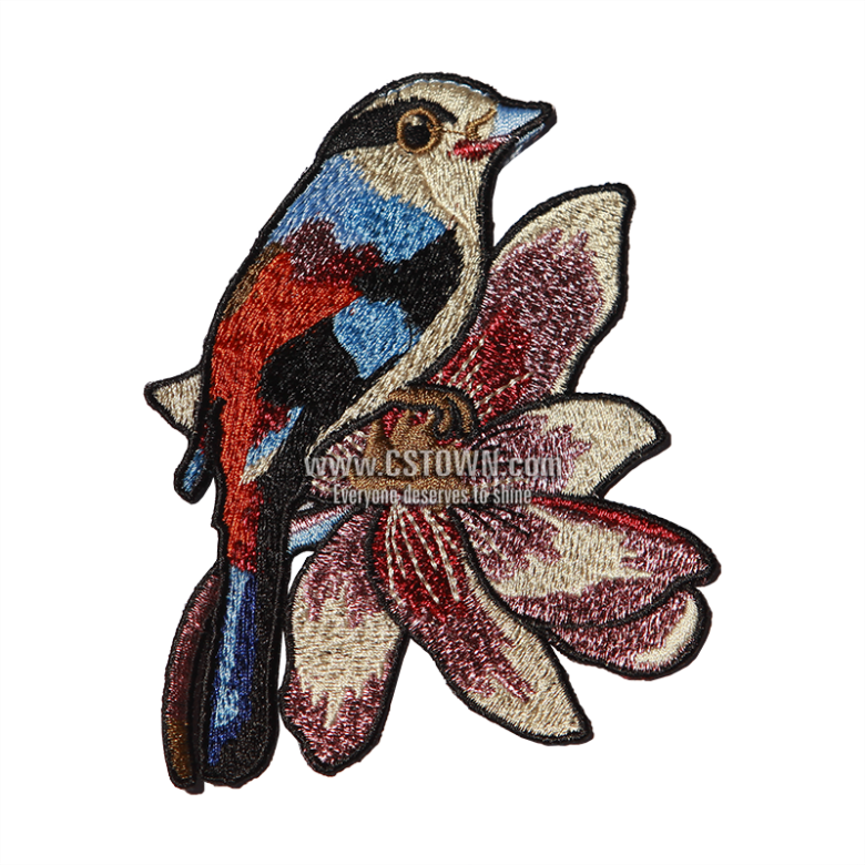 Embroidery drawing cute. Bling bird embroidered patch