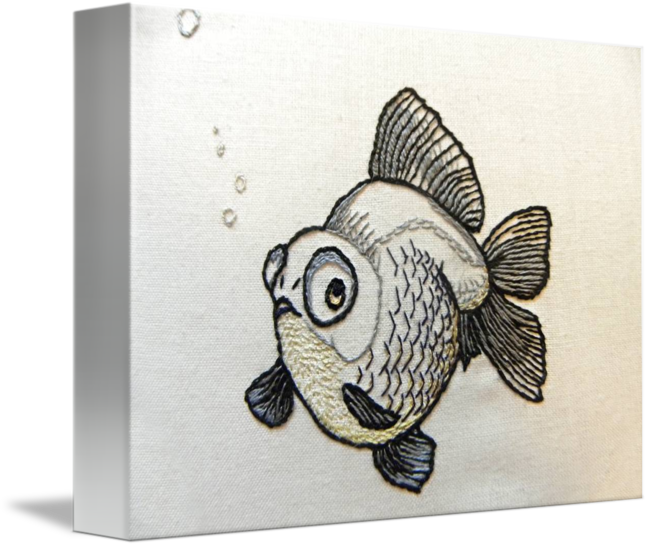 Embroidery drawing fish. Black goldfish by t