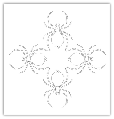 Embroidery drawing cross stitch. Spider free hand pattern