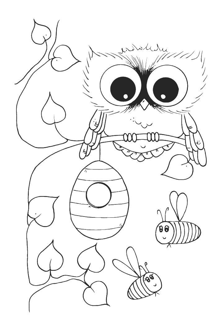 Embroidery drawing cute. Owl with bees coloring