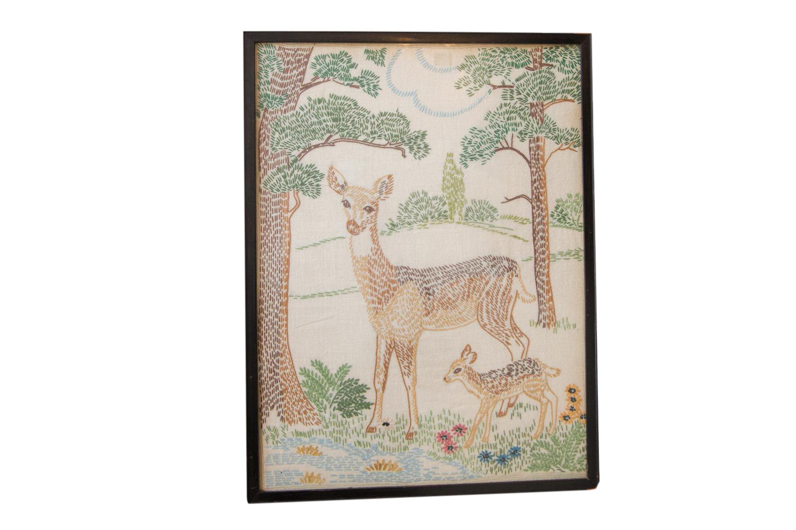 Embroidery drawing forest. Vintage art of bambi
