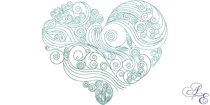Embroidery drawing heart. Holiday archives page of