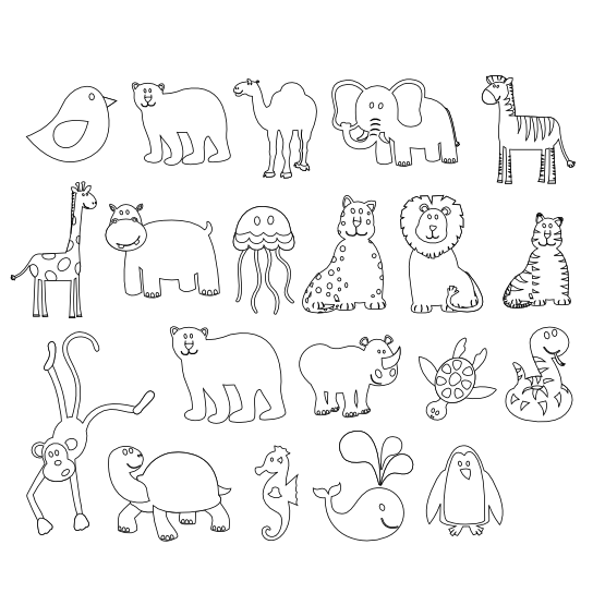 Embroidery drawing outline. Animal outlines for kid