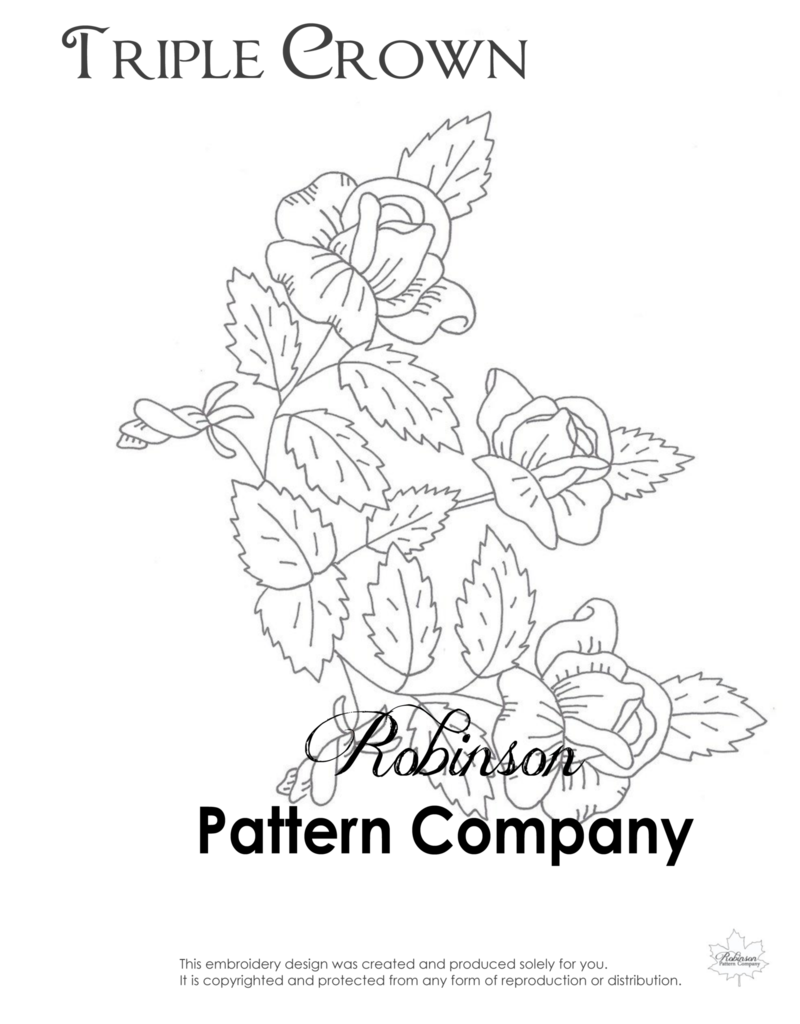 Embroidery drawing pattern. Triple crown hand robinson