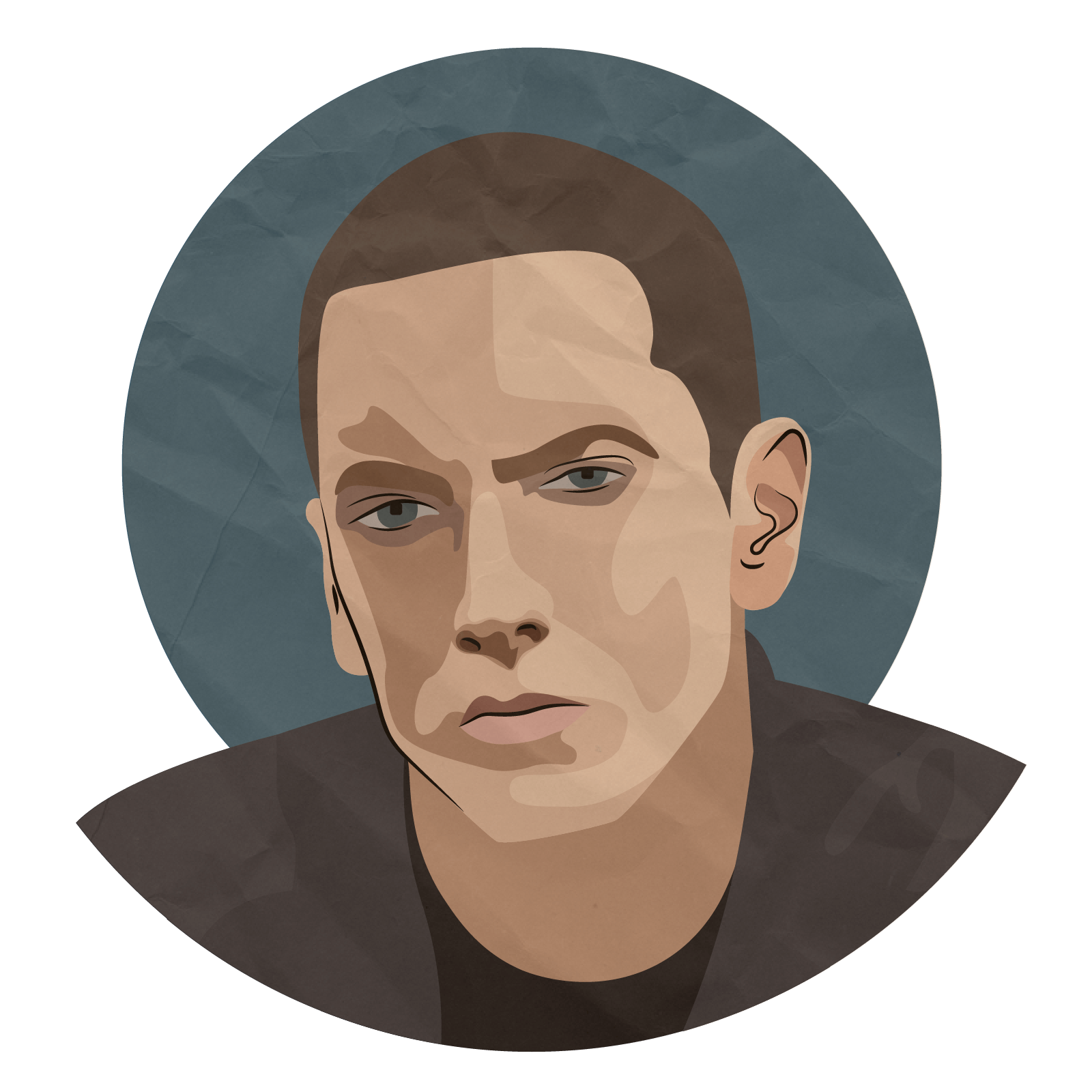 Eminem face png. Portrait work of art
