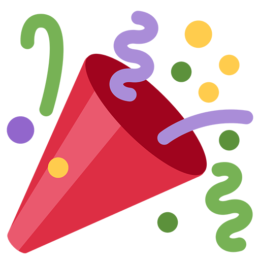 Emoji celebration png. Party popper for facebook