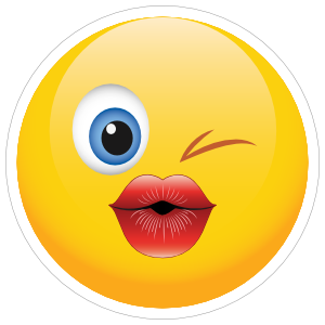 Emoji clipart kiss. Cute blowing a sticker