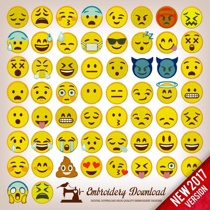 Emoji download. Embroidery designs emoticons pack