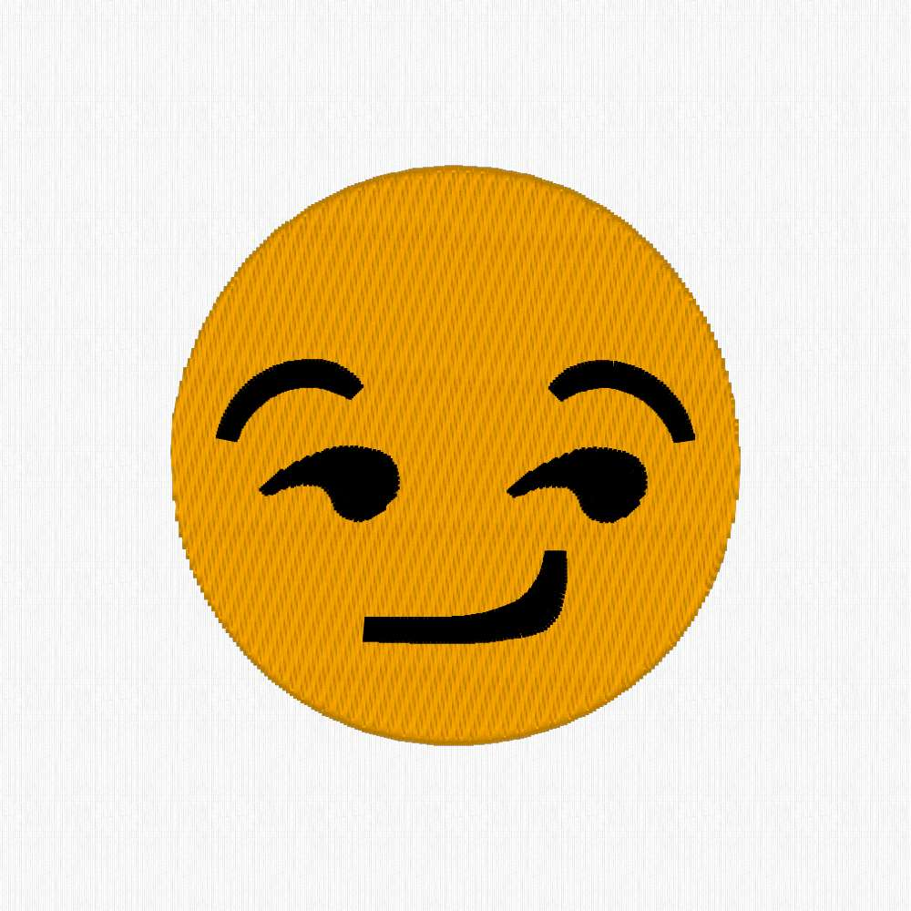 Emoji download. Smirk emoticon machine embroidery